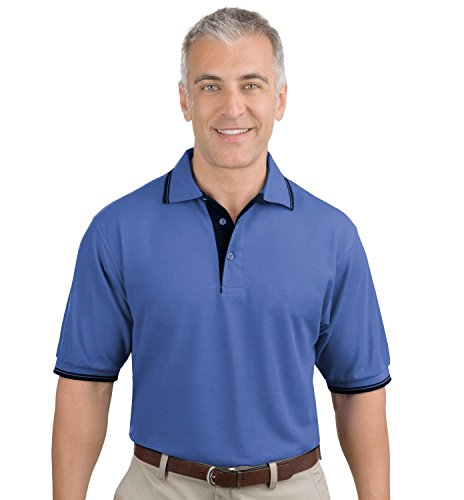 Port Authority Men'S Silk Touch Polo With Stripe Trim 3Xl Ultramarine Blue/Navy - Stripe Silk Shirt