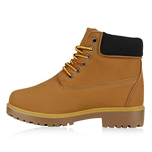 UNISEX Damen Herren Worker Boots Profil Sohle Stiefeletten Outdoor Schuhe Hellbraun Rot Gelb