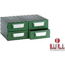 Cassettiera Modello 'F' Componibile In Plastica Ad Alta Resistenza. Dotata Di 4 Cassetti Estraibili.Dimensioni : Lxpxh