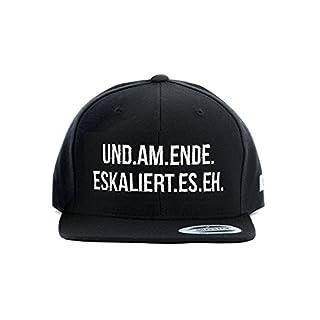 """Snapback Cap THEGOODVIBES mit Statement Stick """"UND AM ENDE ESKALIERT ES EH"""" - Lässiger Spruch und sportlicher Look – black/schwarz"""