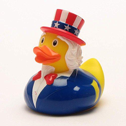 Quietscheente Uncle Sam Ente, Gummiente, Quietscheentchen, Badeente, Quietsch Ente, Sammelfigur, Gummi Bade Spielzeug, LiLaLu, 2069