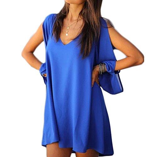Damen Langarm V-Ausschnitt Chiffon Loose A-linie Arme Geschnitten Kleid Beachwear Minikleid Freizeitkleid Strandkleider Sommerkleider Blau