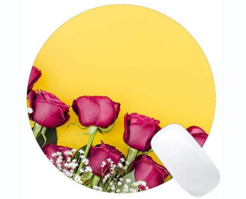 Runde Mausunterlage Rutschfeste Naturkautschuk-Rechteck-Runde Mausunterlagen, rosa Blumen-Rosen-Blume - genähte Ränder