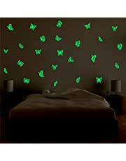 Decor Kafe Vinyl Glowing Butterfly Fluorescent Luminous Night Glow Stickers (28 cm x 1 cm x 20 cm, Green, Pack of 2)