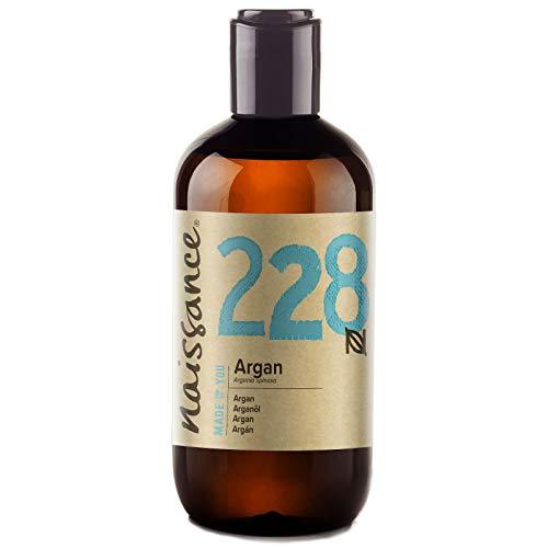 Naissance Aceite Vegetal de Argán de Marruecos n. º 228 – 250ml - Puro, natural, vegano, sin hexano y no OGM - Hidratación natural para el rostro, el cabello, la barba y las cutículas