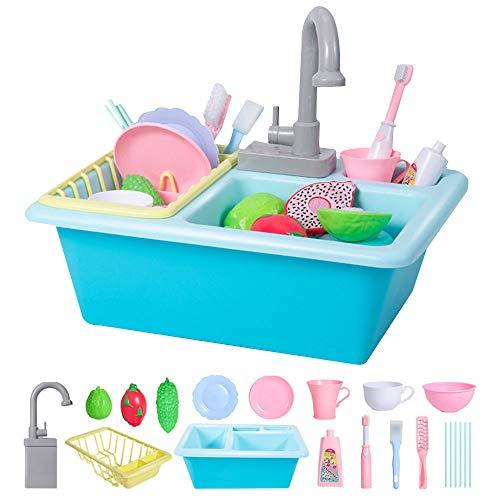 Toy Küchenspüle Spielzeug, Kinder elektrische Spülmaschine Hahn Spielzeug, automatische Wasserzirkulationssystem, 16 Arten von Zubehör, Cosplay Jungen und Mädchen Puzzle Früherziehung Küchenspielzeug