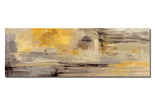 Fajerminart Leinwand Gemälde - Gelb Grau Abstraktes Ölgemälde Leinwand Malerei Kunst Poster Wandbild für Wohnzimmer Sofa Dekoration 60x180 cm (Kein Rahmen) -