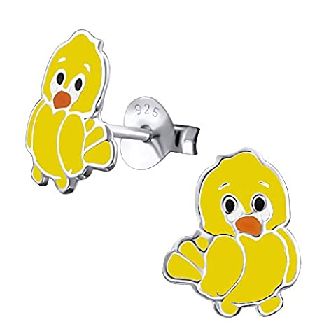 Laimons Childrens' Earrings Childrens' Jewellery bird chick yellow 925 Sterling silver