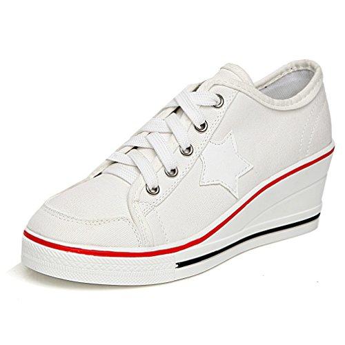 Solshine Damen Canvas Sportlich Low Top Keilabsatz Schnürer Sneaker-Wedges Sportschuhe weiß 38 EU / 4.5 UK / 6.5 US Weiße Wedge Sneakers