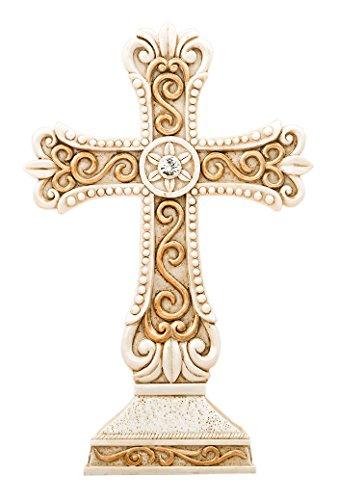 Unbekannt Fashioncraft 2508Antik Design Kreuz Statue in Elfenbein & Gold matt aus