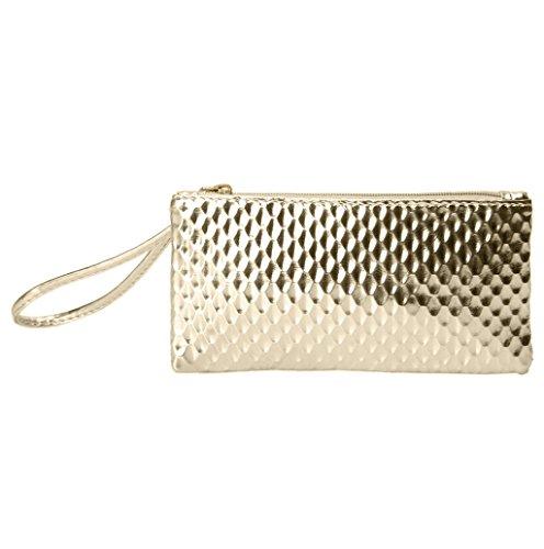Dairyshop Borsa donna Portafoglio, Sacchetto telefono del messaggero raccoglitore borsa della frizione busta sera della festa sera donne (Oro) Oro