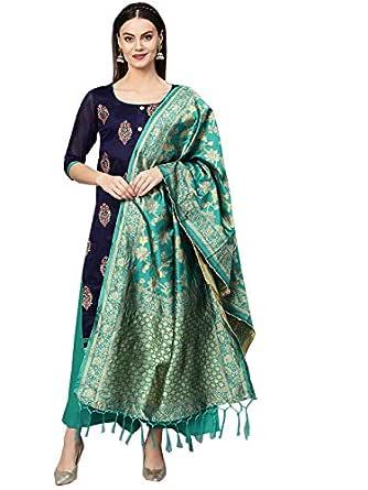 Ishin Women's Cotton Blend Embroidered A-Line Kurta Palazzo Dupatta Set
