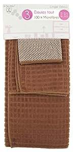 Set tapis évier torchon lavette microfibre - Marron
