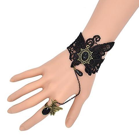 temps Usurier gothique rétro Papillon Noir En Dentelle élégant Bracelet