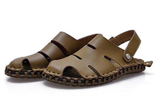 Insun Homme Fishermen-sandales Pour Femmes Avec Des Points Jaunes Kaki