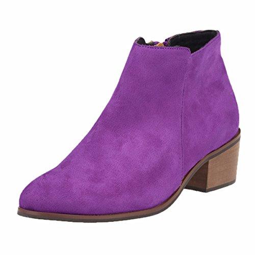QIN&X Chaussures femmes Bottes courtes grande taille couleur solide fermeture à glissière Talon rugueux Sharp