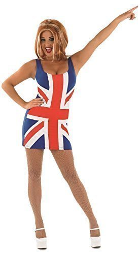 Damen Sexy 1990s Ingwer Spice Girls + PERÜCKE Prominent Berühmt Person Union Jack Kostüm Kleid Outfit UK 8-18 - Blau, 8-10