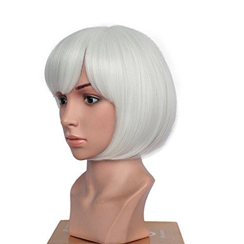 BESTUNG court Bob perruques droites pour les femmes Full White perruque naturelle perruques synthétiques Harajuku Style cheveux pour Cosplay / Halloween / fête de noël avec Cap perruque gratuit
