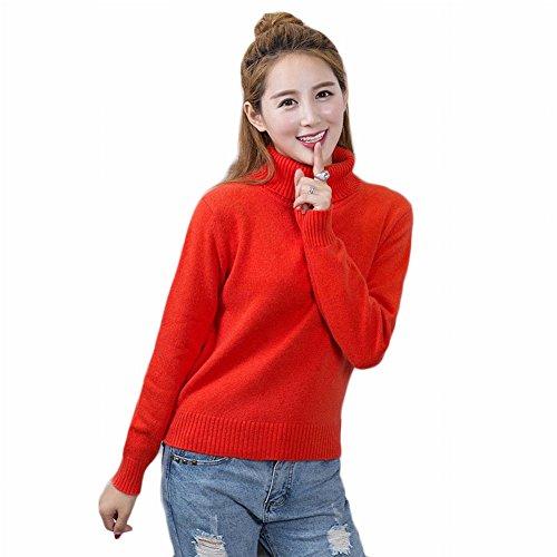 Good dress Kaschmirpullover Dicken Pullover Frauen Kurze Hoch- Strickpullover Reine Farbe Mode Primer Shirt , Mandarine , XL