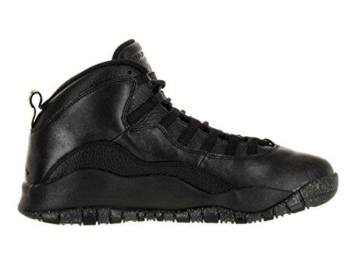 Nike Air Jordan Retro 10, Chaussures de Sport-Basketball Homme, Gris Noir - Negro (Black / Black-Drk Grey-Mtllc Gld)