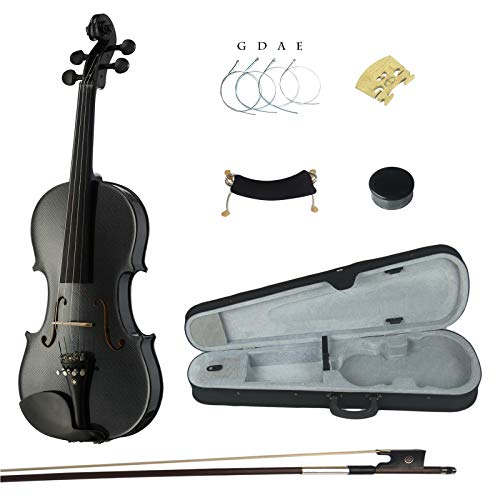 Kinglos 4/4 Schwarz-Weiss Farbig Ebenholz Beschläge Massivholz Violine Geige mit Harten Fall, Schulterstütze, Bogen, Kolophonium, Brücke und Saiten (HB1311)
