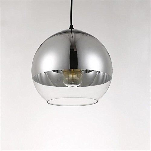 Suspensions argent simple et moderne plaqué lampe pendentif verre café restaurant bar conduit avec deux trous éclairage pendentif en verre, 20cm