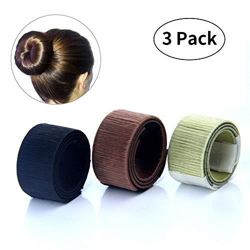 Xuanle Damen Fashion Hair Styling Tool Donut Hair Bun Maker Knotenringe für Lange und Dicke Haare (3 Stücke)