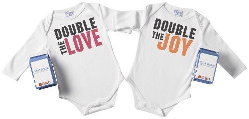 Spoilt Rotten–doble el amor y el doble de la Joy Twin Set Babygrow/body de 100% orgánico tamaños 0m hasta 18M blanco/negro + en Funky cartón de leche blanco blanco Talla:6-12 meses