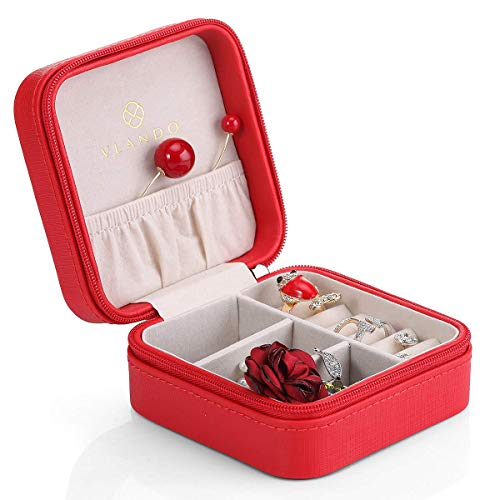ZBHSJ Kleine schmuckschatulle, PVC Leder tragbare Reise schmuck aufbewahrungsbox veranstalter Tasche, Display aufbewahrungskoffer für Ringe Ohrringe Halskette Party Geschenk,Rot (Schmuck-reise-veranstalter)