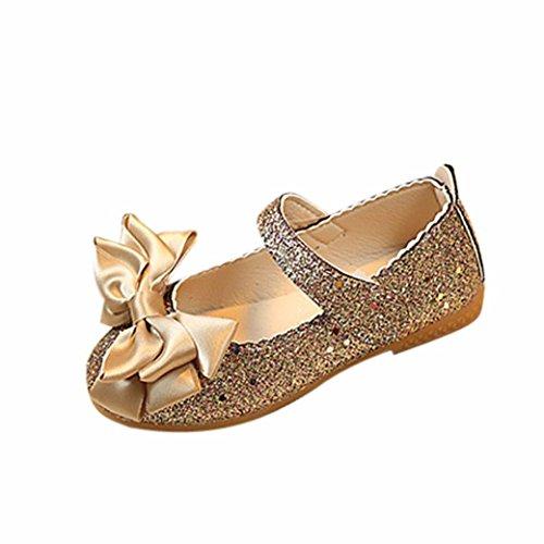 Hunpta Prince Schuhe Kinder Mädchen Mode Prinzessin Bowknot Dance Nubukleder Einzelne Schuhe (26, Gold)