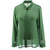 Netgozio Blusas de Gasa de Las Mujeres Camisa Casual Elegante suéter de la Perla Strass Moda