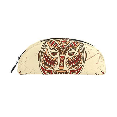 TIZORAX Federmäppchen mit Tribal-Maske auf dem Grunge Federmäppchen für Teenager, Mädchen, Jungen, Kinder