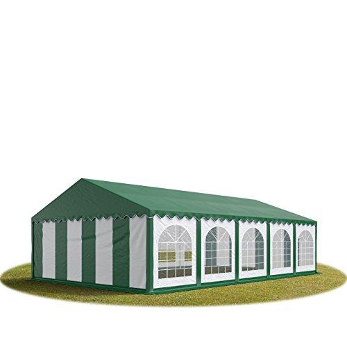 TOOLPORT Tente Barnum de Réception 5x10 m Premium Bâches Amovibles PVC 500 g/m² Vert-Blanc + Cadre de Sol Jardin INTENT24
