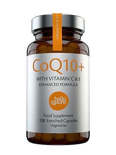 CoQ10 100mg, 120 capsule ad alto assorbimento | Coenzima Q10 di qualità con Vitamina C & E per potenziare il Co-Q10