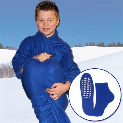 Preisvergleich Produktbild TV Decke - Kuscheldecke für Kinder mit Ärmel und Slipper mit Farbauswahl (blau)
