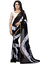 Clothsfab Women's Crepe Chiffon Saree With Blouse Piece (A-Black Women_Black)