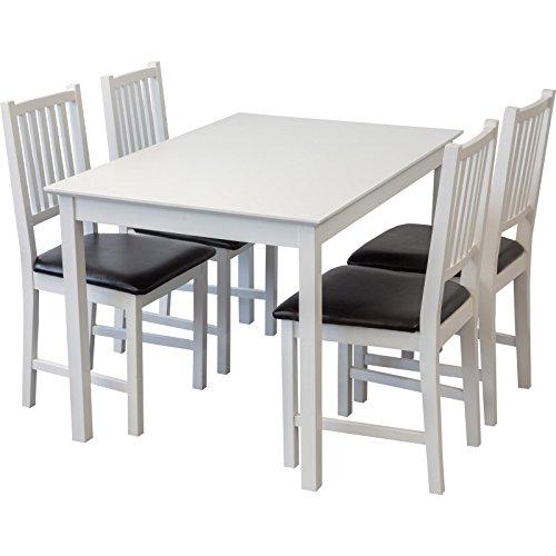Tischgruppe Lucca (Weiss, Tisch 80x120cm + 4 x Stühle), Esszimmertisch mit Stühlen