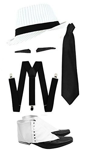 Gangster Kostüm der 1920er Reihe -Zubehör Set Deluxe- Weiße Hosenträger + Weiße Krawatte + Schwarzer Spiv/Schnurrbart + Gamaschen + Schwarzer Nadelstreifen-Fedora-Hut (Deluxe-krawatte-hut)