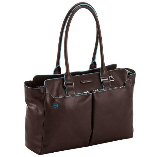 PIQUADRO Blue Square Shopping Bag Mogano