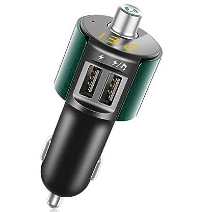 Bovon-Bluetooth-FM-Transmitter-Auto-Radio-Bluetooth-Adapter-Freisprecheinrichtung-mit-Mikrofon-Dual-USB-Ladegert-5V24-Untersttzt-USB-Stick-fr-IOS-und-Android-Gerte