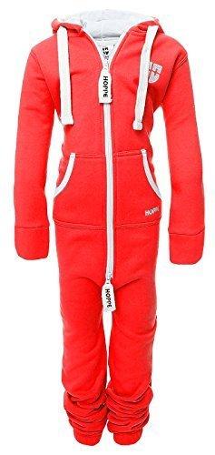 Hoppe Kinder Jumpsuit Overall Jogger Trainingsanzug Mädchen Anzug Jungen Onesie (3-4 Jahre/year, rot ) (Onesies 3)