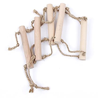 2 Pcs Small Parrot Rat Toy Bridge Ladder Hamster Bird Cage Accessories Wood Color by GOOTRADES 4