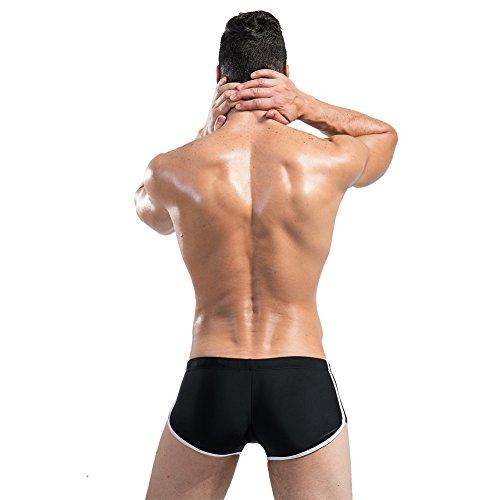 Lantra Besa Uomo Nuoto Surfing Underwear Boxer Slip Swimmwear Pantaloni con Coulisse in Nylon e Spandex Tipo 9 (Asiatica M-XXL, Italiano S-XL) Nero