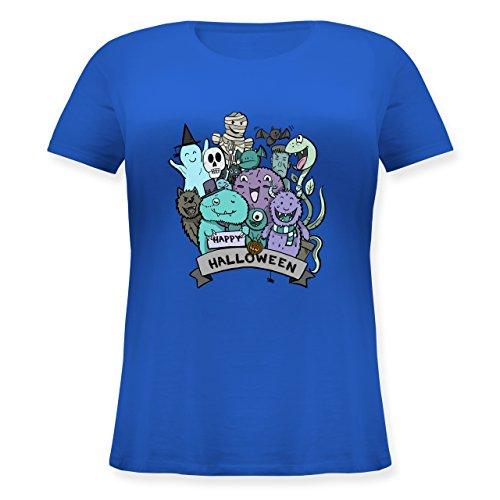 lloween Monster - L (48) - Blau - JHK601 - Lockeres Damen-Shirt in großen Größen mit Rundhalsausschnitt ()