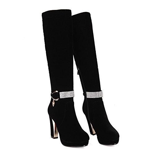 AgooLar Damen Rund Zehe Blend-Materialien Reißverschluss Hoher Absatz Stiefel Schwarz-Wasser Diamanten