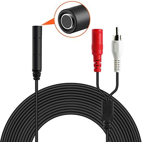 Vitorcam High Sensitive Mikrofon für IP-Kamera / CCTV / DVR / NVR, Audio-Aufnahmegerät, 60 Fuß Kabel, mit 1 Buchse auf 2 Stecker, ohne Netzteil, M6, Schwarz - Audio Dvr