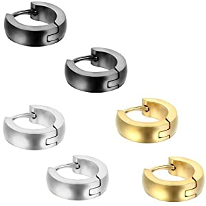 Aroncent 5 Paare Herren Damen Ohrstecker Ohrringe Ohrschmuck Fake Plug Fakeplugs Tunnel, 8mm, Edelstahl, Silber Schwarz Gold Rose Gold
