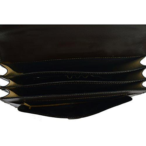 CTM Unisex Geschäftsbeutel, Organisator, Aktentasche aus echtem Leder hergestellt in Italien D7009 - 41x31x18 Cm Dunkelbraun
