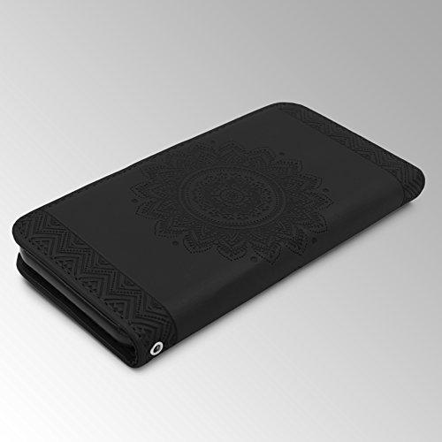 URCOVER® Mandala Pattern Case Wallet   Apple iPhone 6 / 6s   Flip Cover Simil cuir in Noir   Peau Coque Portefeuille Clapet Stand Rabat Élegant Étui Protection Portable Noir