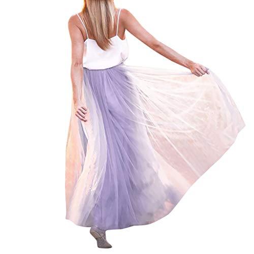 Dalmatiner Kostüm Tanz - KPPONG Frauen Tüllrock Großer Saum A-Linien Petticoat Langer Rock Lavendel lila Tüll Tutu Röcke Tanzkleid Unterrock